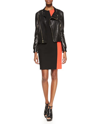 Lambskin Leather Moto Jacket & Sleeveless Colorblock Sheath Dress