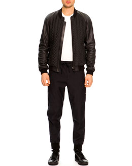 Dolce & Gabbana Bomber Jacket with Leather Sleeves, Short-Sleeve T-Shirt & Zip-Pocket Jogging Pants