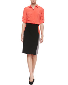 DKNY 3/4-Sleeve Button Tab Blouse & Colorblock Pencil Skirt