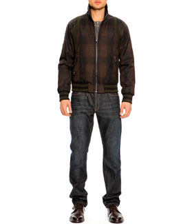Dolce & Gabbana Plaid Zip-Pocket Bomber Jacket, Long-Sleeve Henley Shirt & 16 Classic Denim Jeans