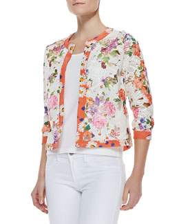 Michael Simon Floral-Print Lace Cardigan & Solid Jersey Shell Top