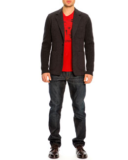 Dolce & Gabbana Two-Button Wool Sleeve Jacket & James Dean Dream Tee & 16 Classic Denim Jeans, Indigo