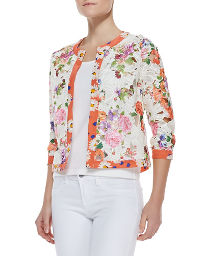 Michael Simon Floral-Print Lace Cardigan & Solid Jersey Shell Top, Petite