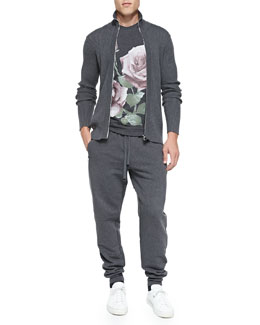 Dolce & Gabbana Ribbed-Knit Zip-Front Sweater,  Short-Sleeve Tee with Printed Roses & Zip-Pocket Sweatpants