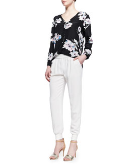 Joie Michi Floral-Print Silk Blouse & Mariner Cropped Pull-On Pants