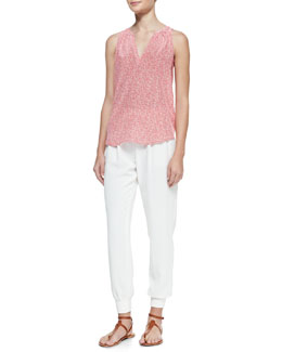 Joie Fifi Dotted Sleeveless Silk Blouse & Mariner Cropped Pull-On Pants