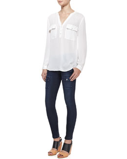 Joie Pauline Long-Sleeve Silk Blouse & So Real Flap-Pocket Skinny Jeans