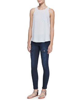 Joie Nicholette Striped Pocket Tank & So Real Flap-Pocket Skinny Jeans