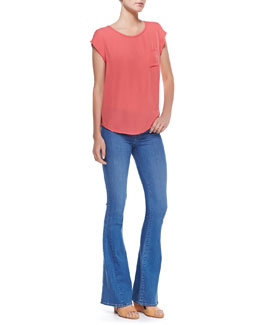 Joie Rancher Short-Sleeve Blouse & Aqueous Mid-Rise Flare Jeans