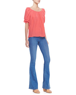 Joie Eleanor Gathered Half-Sleeve Blouse & Mid-Rise Flare Jeans