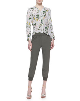 Joie Divitri Floral-Print Silk Blouse & Mariner Cropped Pull-On Pants