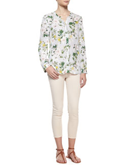 Joie Divitri Floral-Print Silk Blouse & Stretch-Denim Cropped Skinny Jeans