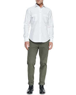Vince 3-Pocket Woven Shirt & Welt-Cargo Pocket Twill Pants
