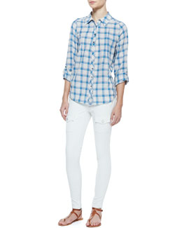 Joie Moshina B Plaid Cotton Blouse & So Real Cargo-Pocket Skinny Jeans