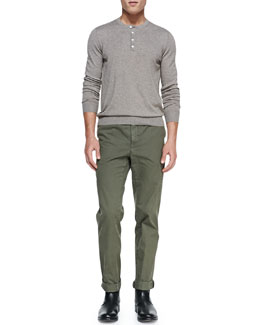 Vince Heather-Knit Henley & Welt-Cargo Pocket Twill Pants