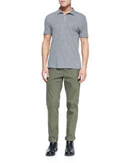 Vince Heathered Knit Polo & Welt-Cargo Pocket Twill Pants