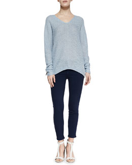 Vince Wide-Stitch Linen Sweater & Riley Lightweight Legging Jeans