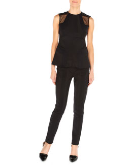 Arzu Kaprol Paneled Net-Shoulder Top and Ribbed-Panel Slim Pants