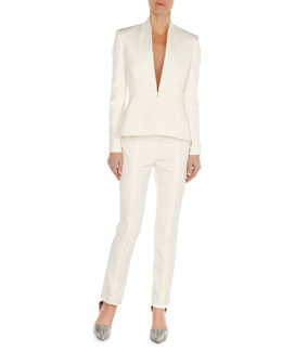 Arzu Kaprol Nipped Python-Lapel Jacket & Slim Seam-Detail Pants