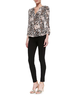 Joie Pearline Silk Leopard-Print Blouse & Evani Ponte Pull-On Leggings