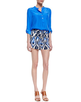 Alice & Trixie Dylan Satin One-Pocket Blouse & Jude Ikat-Print Silk Shorts