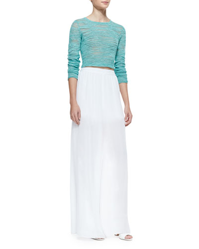 Alice + Olivia Fallon Sheer-Patch Cropped Sweater & High-Waist Sheer Wide-Leg Pants