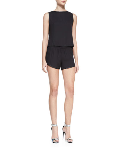 Alice + Olivia Marci Leather-Trim Boxy Top & Leather-Trim Pull-On Jogging Shorts
