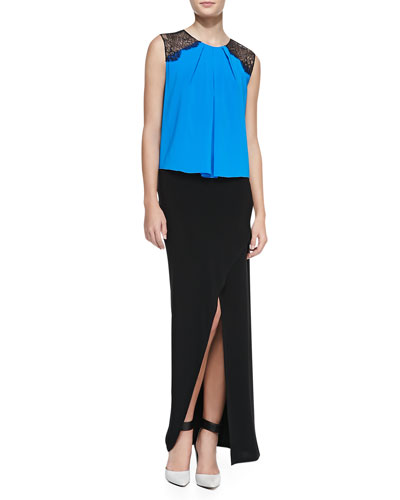 Alice + Olivia Lorretta Lace-Shoulder Sleeveless Top & Cross-Front Jersey Maxi Skirt