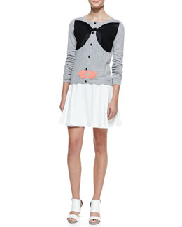 Alice + Olivia Stace Face Knit Cardigan & LuAnn Wide-Waist Flared Skirt