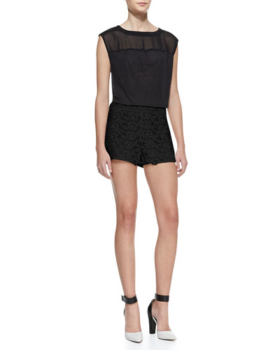 Alice + Olivia Leather-Shoulder Boxy Tee & Floral Lace Relaxed Shorts