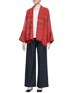 eskandar Wide A-line Scrunched Shawl, Mid Plus A-Line Shell & Regular Trousers
