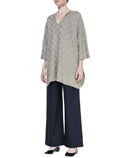 eskandar Long Split Neck Top & Regular Trousers