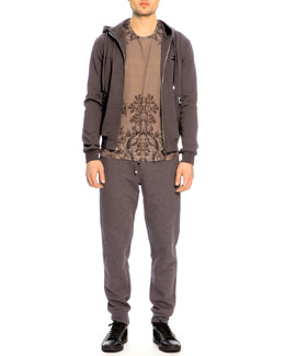 Dolce & Gabbana Zip Pocket Hoodie, Short-Sleeve Baroque-Print Tee & Zip-Pocket Sweatpants