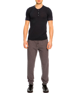Dolce & Gabbana Short-Sleeve Henley Shirt & Zip-Pocket Sweatpants