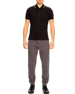 Dolce & Gabbana Short-Sleeve Striped Collar Polo Shirt & Zip-Pocket Sweatpants