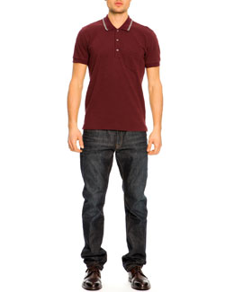 Dolce & Gabbana Short-Sleeve Striped Collar Polo Shirt & 16 Classic Denim Jeans