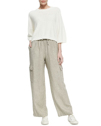 Round-Neck T-Shirt Sweater & Drawstring Utility Trousers