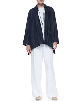 eskandar Wide Shirt Jacket, Long-Sleeve Scoop Tee, Drawstring Linen Trousers & Crystal Pendant Necklace