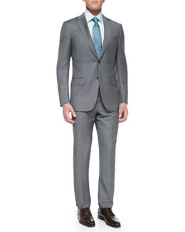 Ermenegildo Zegna Sharkskin Suit Jacket , Tonal-Herringbone Dress Shirt & Woven Shell-Neat Tie