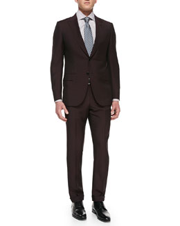 Ermenegildo Zegna Solid Wool/Mohair Suit, Check Button-Down Dress Shirt, Textured Twill Stripe Tie, Shiny Reversible Belt & Single Monk Strap Shoe