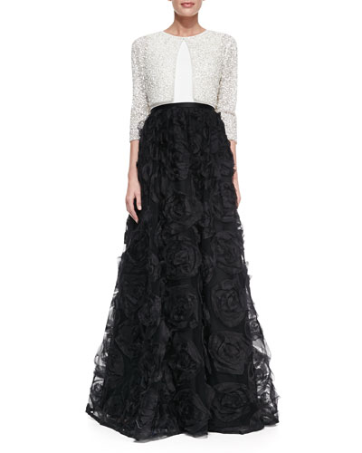 Aidan Mattox Half-Sleeve Sequined Bolero & Sleeveless Combo Rosette Ball Gown
