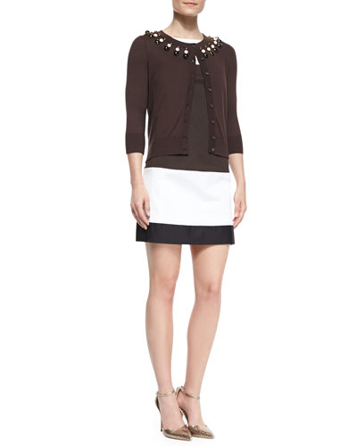 kate spade new york colorblock bicolor shift dress & rio embellished-neck cardigan