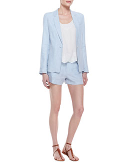 Joie Mehira B Linen One-Button Blazer & Boyd Silk Embroidered Tank & Merci Linen Shorts