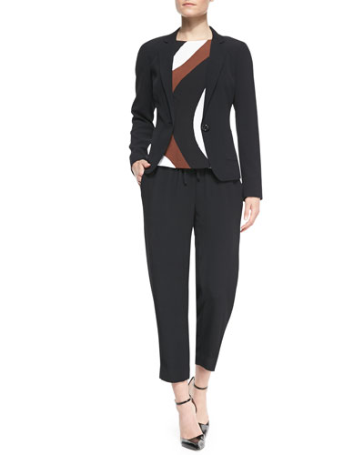 kate spade new york one-button crepe blazer, tatiana rio-swirl crepe top & hutton lounge drawstring pants