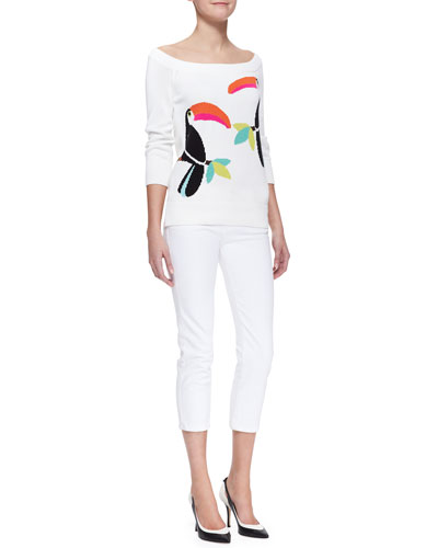 kate spade new york toucan slouchy sweater & broome street capri jeans
