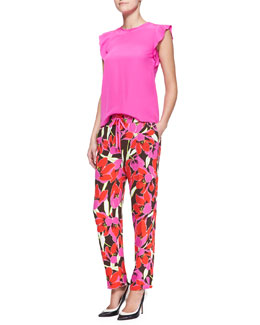 kate spade new york frilled cap-sleeve blouse & hutton tropical-print lounge pants