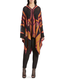 Gucci Stained Glass Print Poncho & Silk Crepe de Chine Jogging Pants