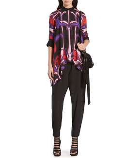 Gucci Art Nouveau Flower Print Silk Cape Shirt & Silk Crepe de Chine Jogging Pants