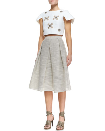 Cropped Bead Cluster Top & Striped Raffia Full Skirt