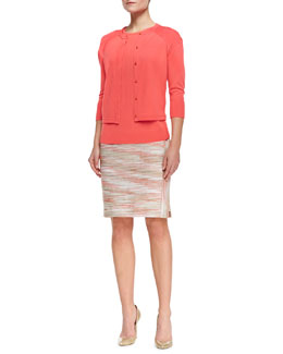 Magaschoni Crewneck 3/4-Sleeve Cardigan, Crewneck Pleated-Back Top & Space Dye Boucle Pencil Skirt